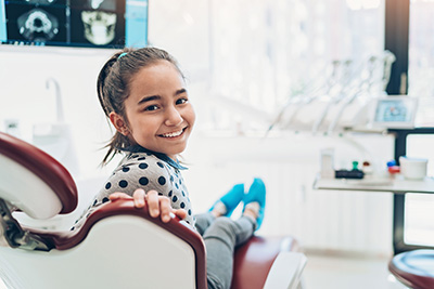 Young girl at her dental appointment