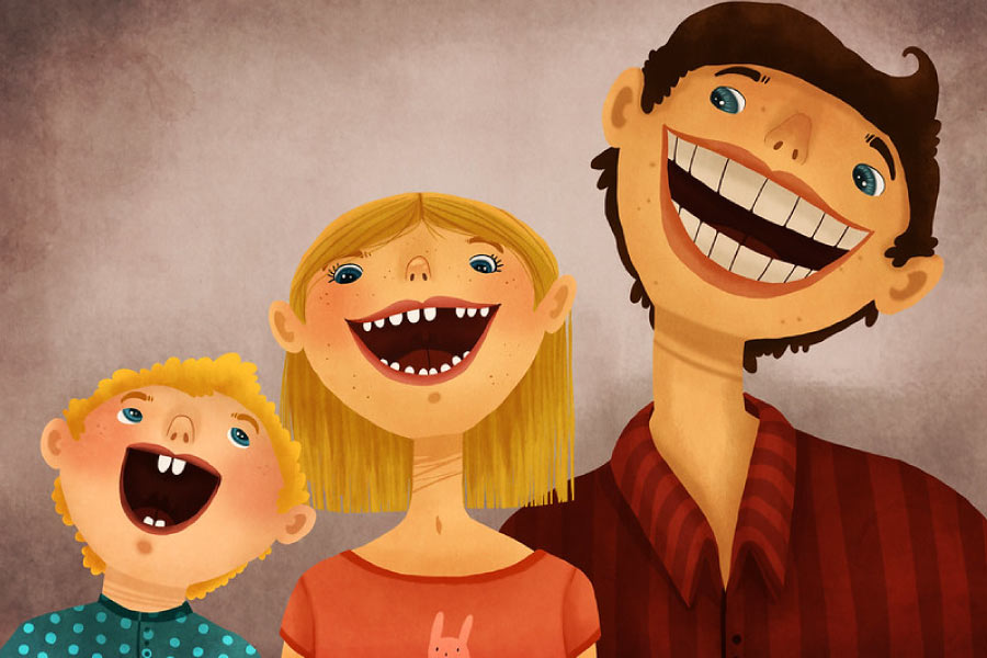 Cartoon of three smiling kids, a child, young teen and young adult.